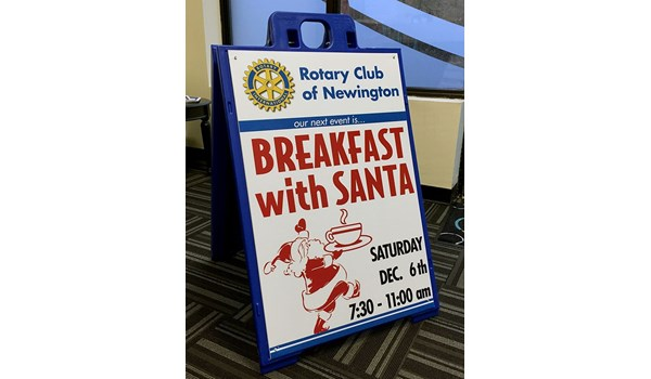 Blue a frame sandwich board with printed insert for the Newington Rotary Club in Newington, CT.