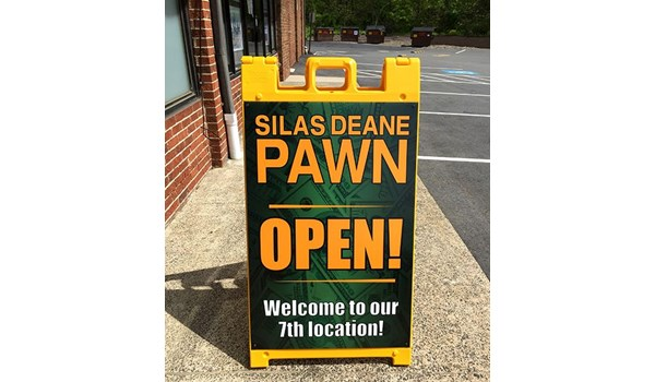 Sidewalk A Frame sign for Silas Deane Pawn in Bristol, CT.