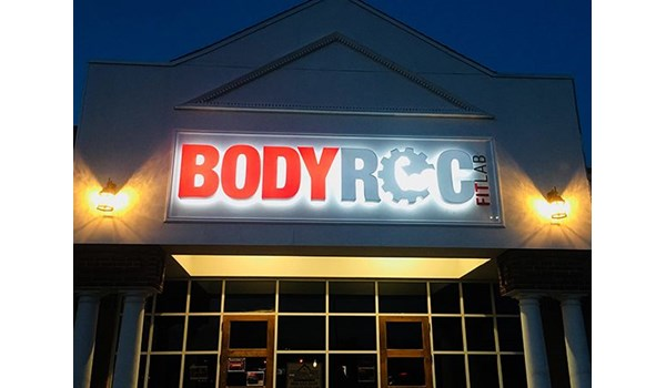 Dual lit channel letters for BodyRoc in Avon, CT.