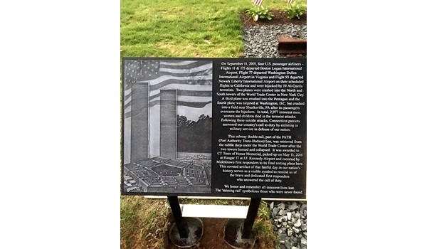 Outdoor aluminum plaque for CT Trees of Honor in Middletown, CT.