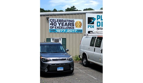 40th anniversary banner for Plastic Design International in Middletown, CT.