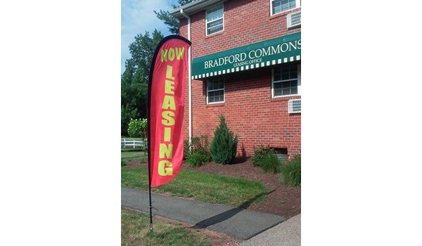 Feather flag for Bradford Commons in Newington, CT.