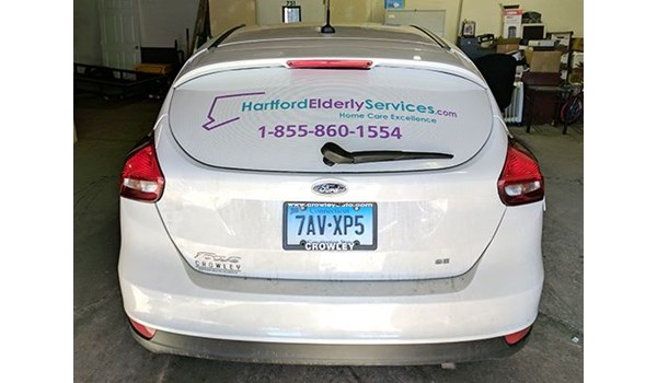 Rear window graphics for Hartford Elderly in Hartford, CT.