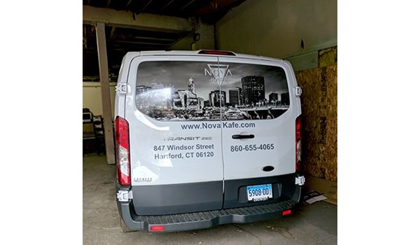 Rear van window graphics for Nova Cafe in Hartford, CT.