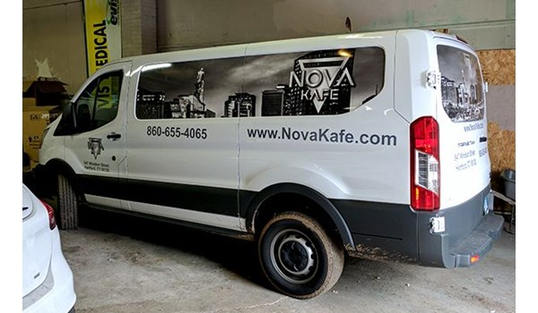 Van side window graphics for Nova Cafe in Hartford, CT.