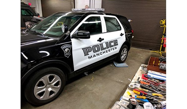 Vehicle graphics for Manchester PD in Manchester, CT.