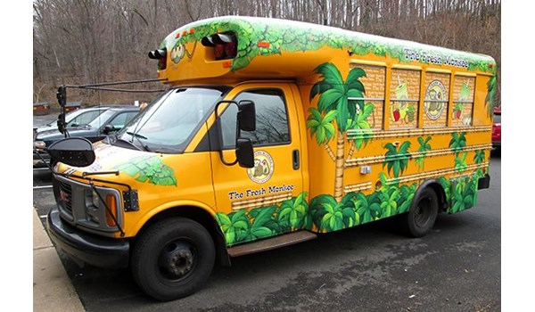 Partial food service truck wrap for the Fresh Monkee in Wethersfield, CT.