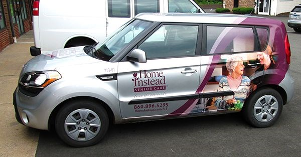 Partial vehicle wrap for Home Instead in Tolland, CT.