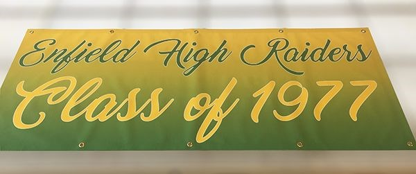 Indoor banner for alumni of Enfield High 1977 in Enfield, CT.