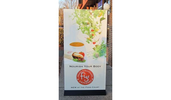 Free standing sign frame in for Figs Express Newington, CT.